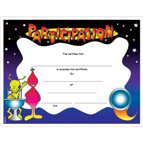 participation certificates with fun galaxy design 8 1 2 x 11