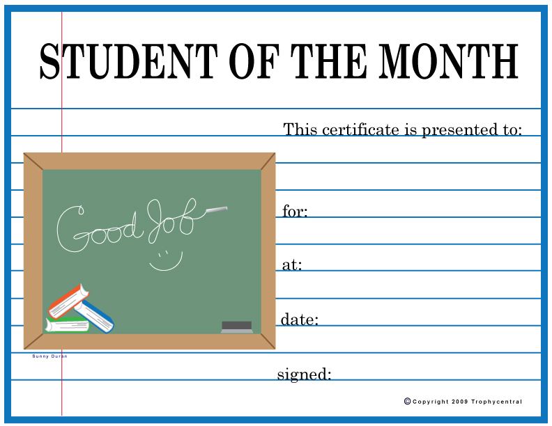 Free Student Of The Month Certificates Certificate Free Student Of