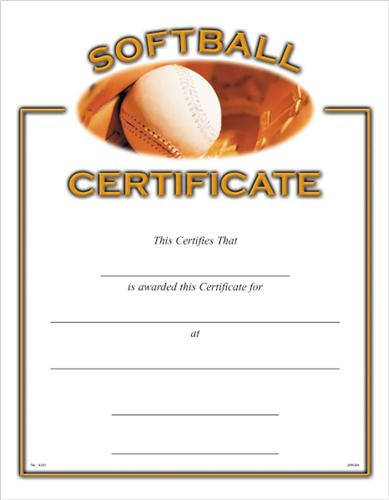 softball awards certificates  Softball Certificates - Softball Award Certificate