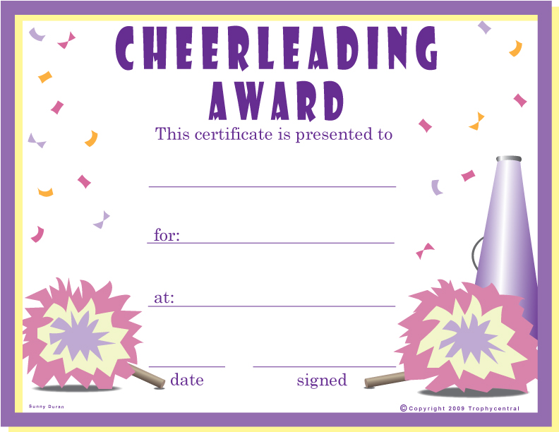 Free cheerleader certificates certificate free cheerleader our free certificates were designed to use less ink to save you money simply download the file to your computer and print it yadclub Choice Image