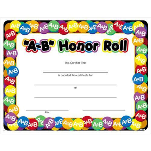 A B Honor Roll Award Certificate 8 1 2 X 11 A B Honor