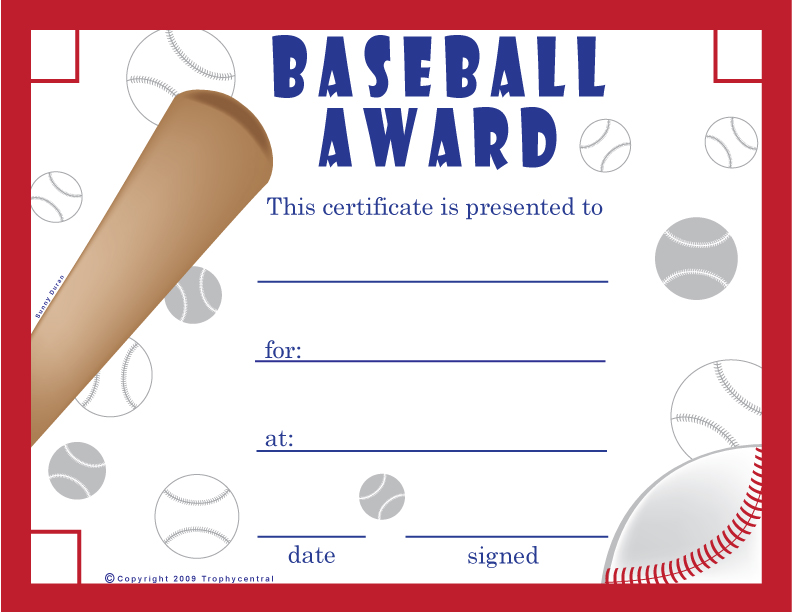Tee Ball Certificates Printable Free Baseball Certificates   Printable  Baseball Certificate