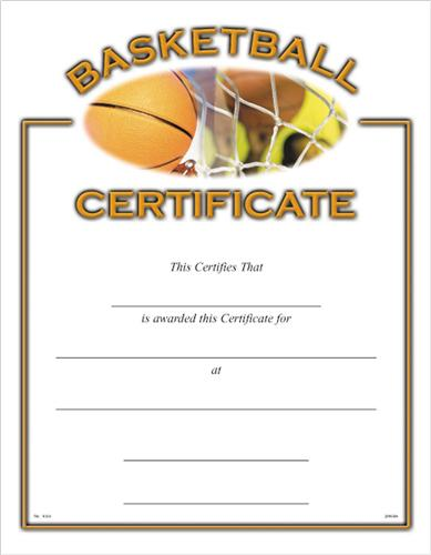 Sports Certificate - Basketball Certificates - Baseball Certificate