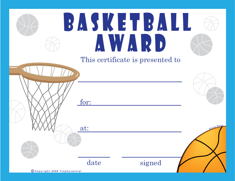 Free basketball certificates certificate free basketball for Athletic certificate template