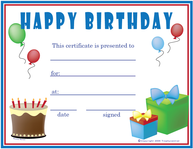 free birthday  boy  certificates  certificate free