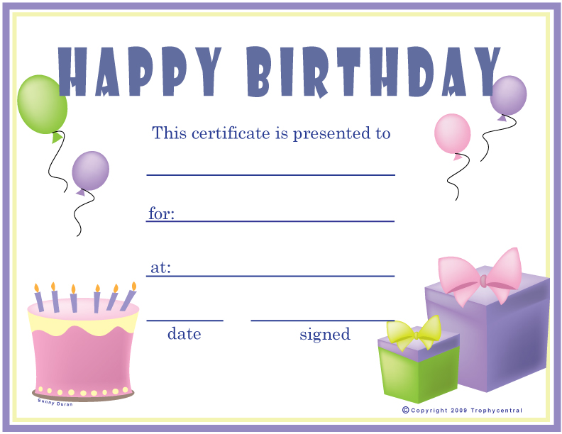 free birthday  girl  certificates  certificate free birthday  girl