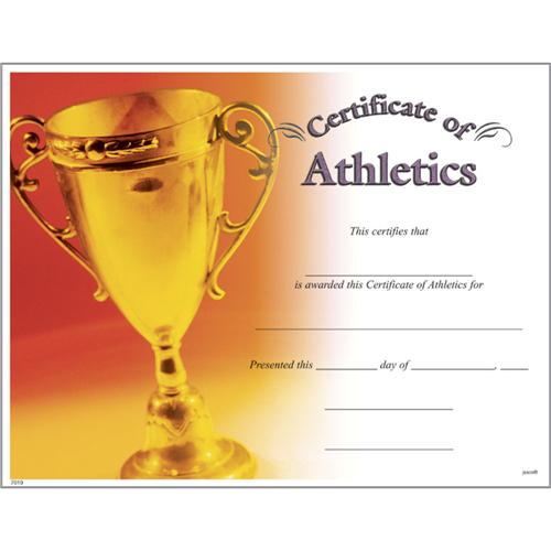 certificate of athletics from trophycentral
