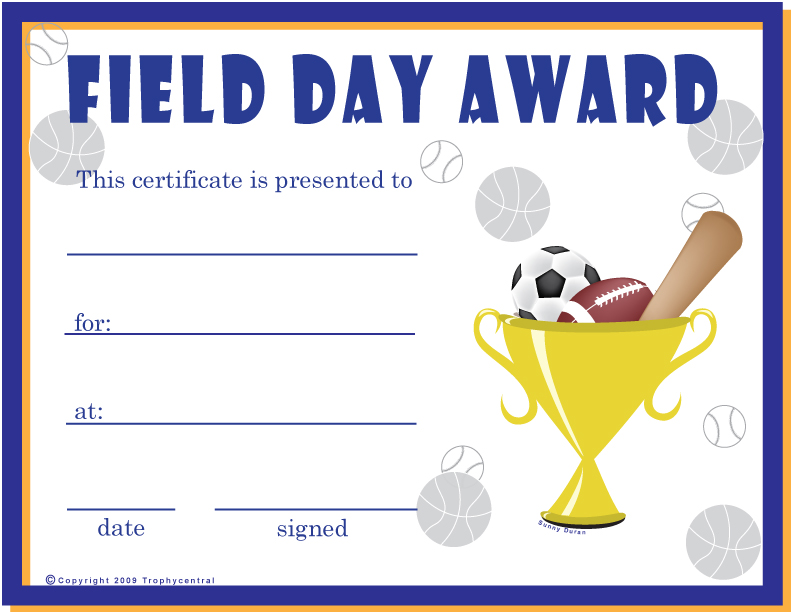 Free field day certificates certificate free field day for Sports day certificate templates free