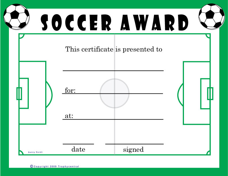 image relating to Printable Soccer Certificate named Football Award Certification Template