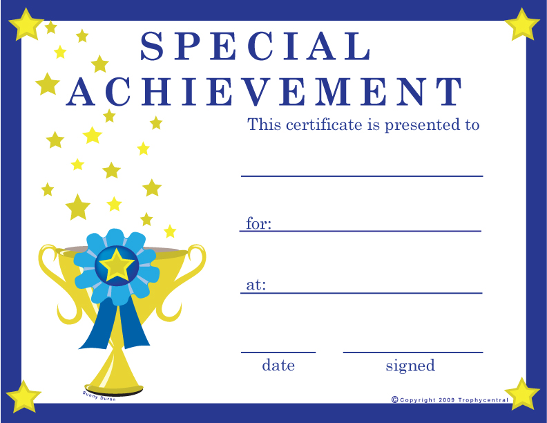 Free special achievement certificates certificate free for Cross country certificate templates free
