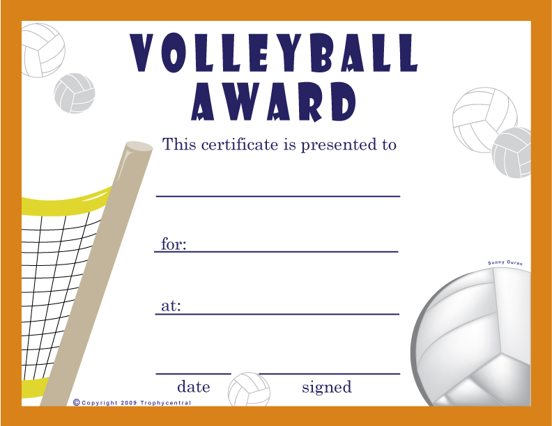 Find Free Volleyball Certificates at TrophyCentral – Sports Award Certificates