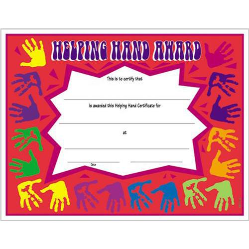 Helping Hand Certificate, 8 1/2 x 11 Helping Hand Certificates
