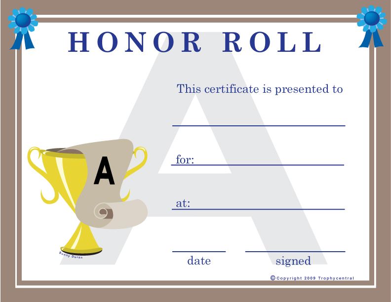Free honor roll certificates certificate free honor roll yadclub Gallery