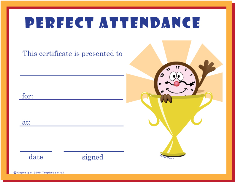 Free Perfect Attendance Certificates Certificate Free Perfect