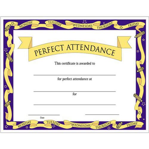 "Perfect Attendance Certificates - 8 1/2"" x 11"" 