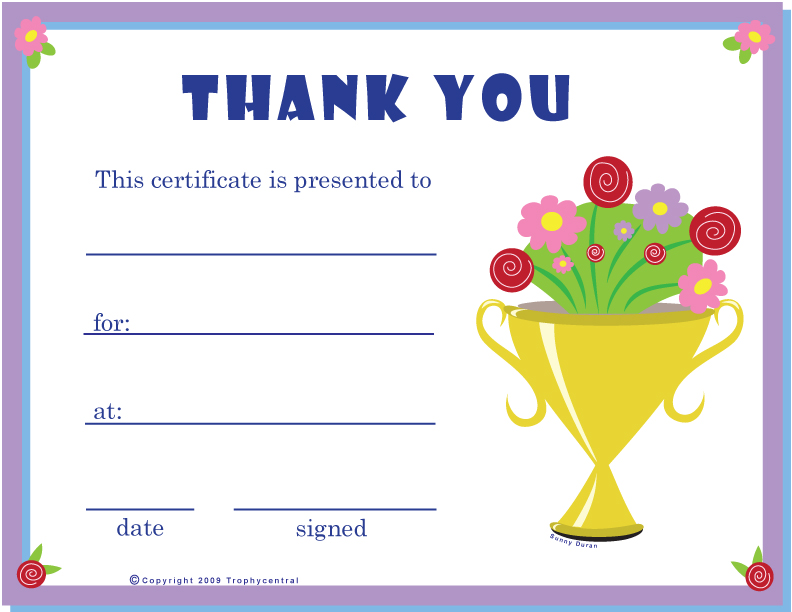 free thank you certificates certificate free thank you