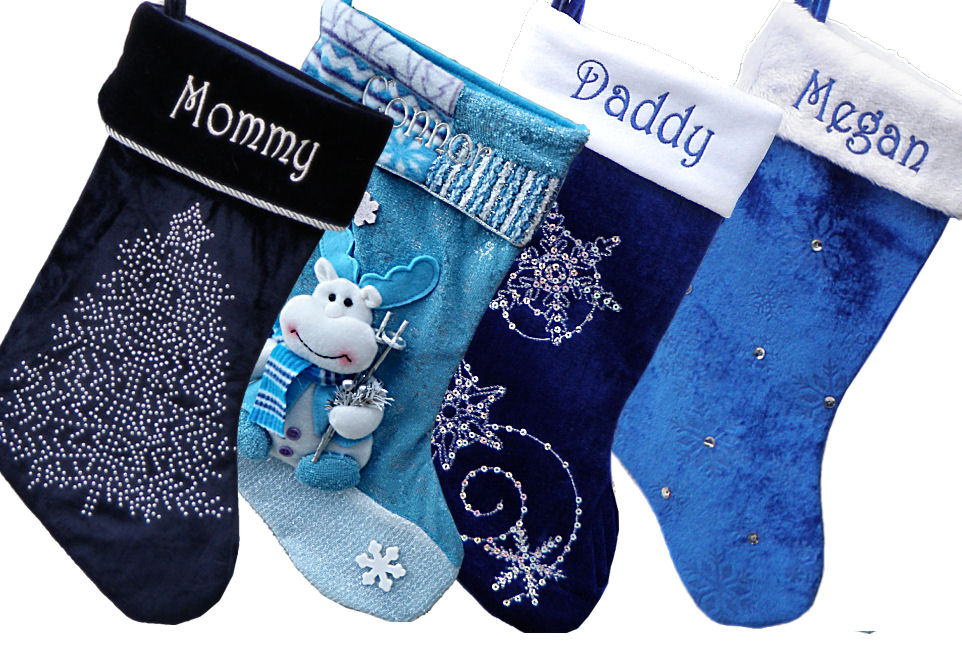 blue velvet personalized stockings - Blue Christmas Stocking