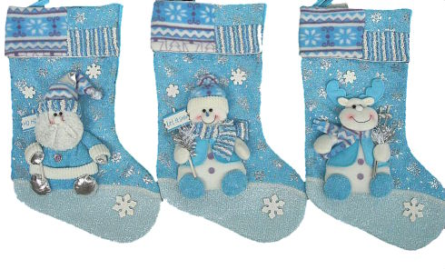 blue collection designer christmas stocking rudolph - Blue Christmas Stocking
