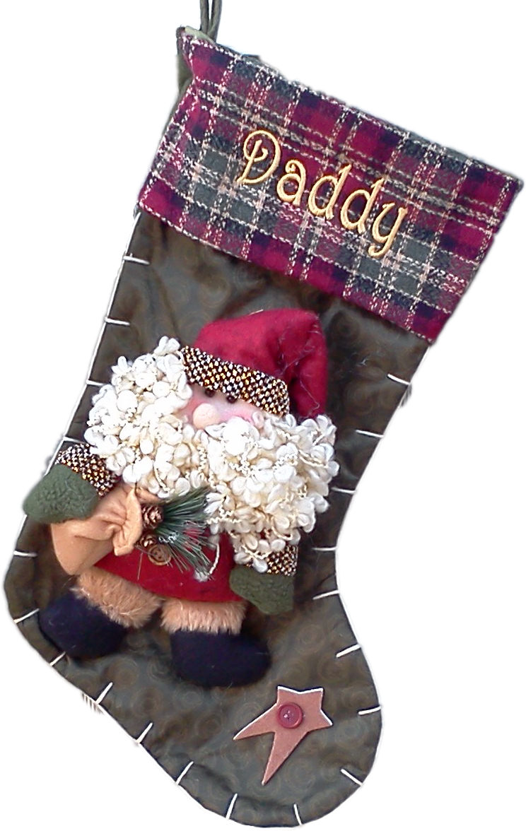 Rustic christmas stocking country santa