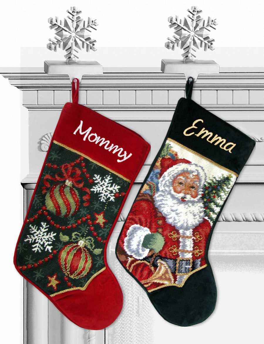 needlepoint christmas stockings ornament design