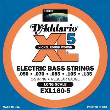 D'Addario EXL160-5 Nickel Bass Guitar Strings Long Scale Medium .050-.135