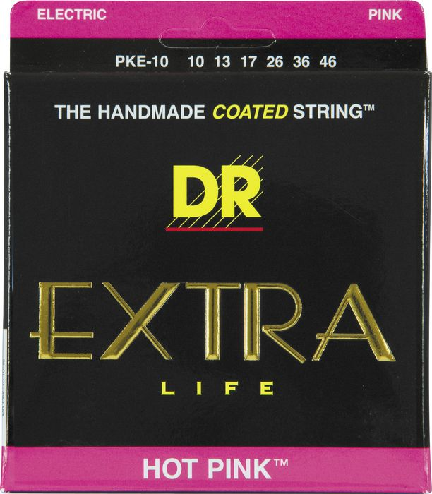 "DR ""EXTRA"" Life Hot Pink Coated Electric Guitar Strings"