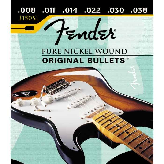 Fender 3150SL Original Bullets Pure Nickel Wound Electric Guitar Strings, Super Light 8-38