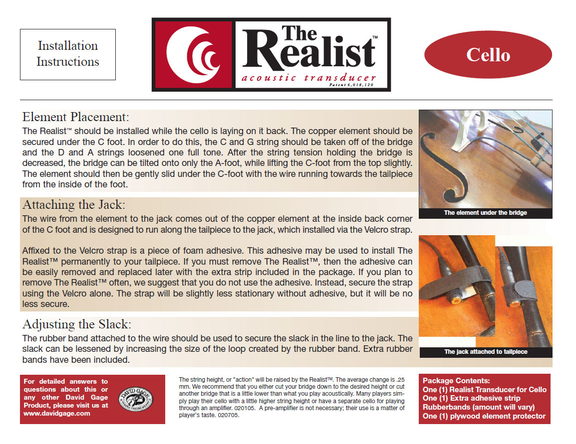 Realist Acoustic Transducer Cello Pickup