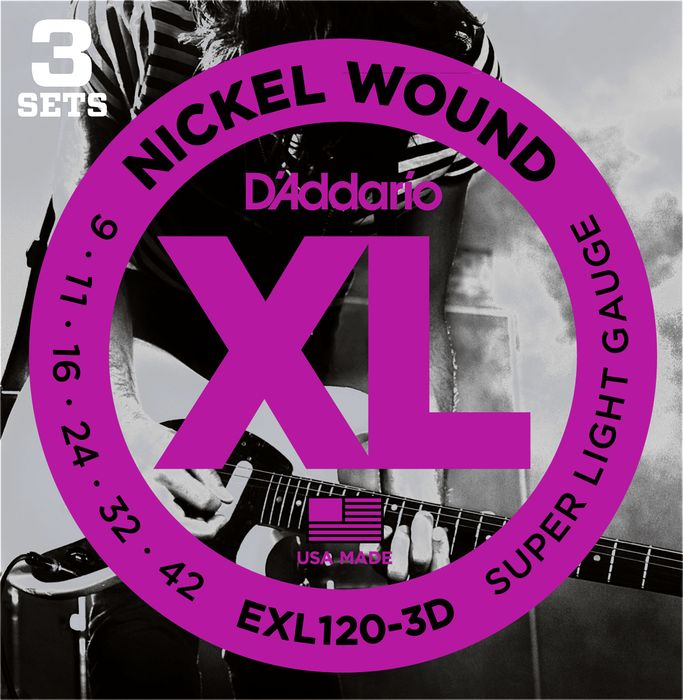 D'Addario 3 Pack EXL Nickel Wound Electric Guitar Strings