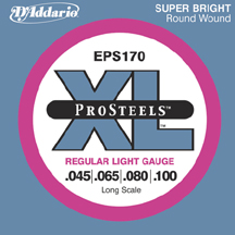 D'Addario EPS170 ProSteels Electric Bass Guitar Strings Regular Light .045-.100