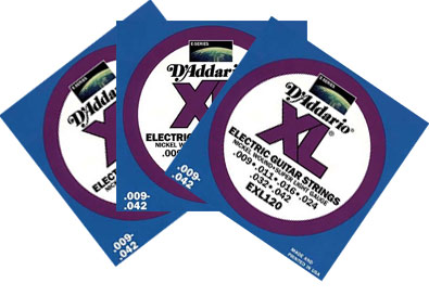 D'Addario EXL120 3 Pack Electric Guitar Strings Super Light .009 - .042