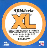 D'Addario EXL115W Jazz Rock Wound Third Electric Guitar Strings Light .011 - .049