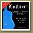 Luthier Set-30 Concert White Silver Classical Guitar Strings Medium/Hard Tension