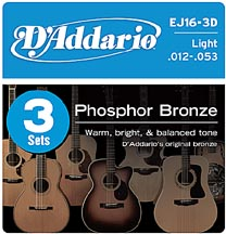 D'Addario 3 Pack EJ Phosphor Bronze Acoustic Guitar Strings