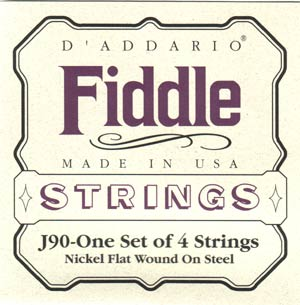 D'Addario J90 Nickel Flat Wound On Steel Fiddle Strings
