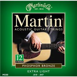 Martin M500 12 String Phosphor Bronze Acoustic Guitar Strings Extra Light