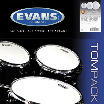 "Evans Genera G2 Series Coated Tom Pack Drumheads - Fusion Size 10"" 12"" 14"""