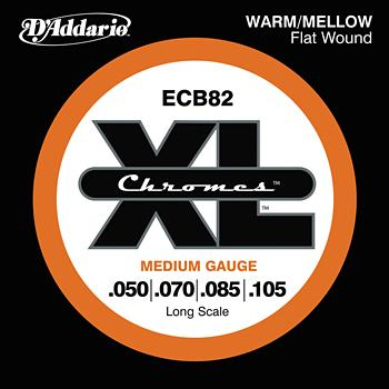 D'Addario ECB82 Chromes Warm/Mellow Flat Wound Electric Bass Guitar Strings Medium .050-.105