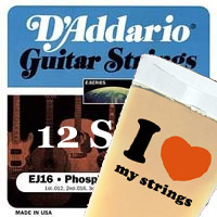 D'Addario EJ 10+2 Pack Phosphor Bronze Acoustic Guitar Strings with FREE Pint Glass