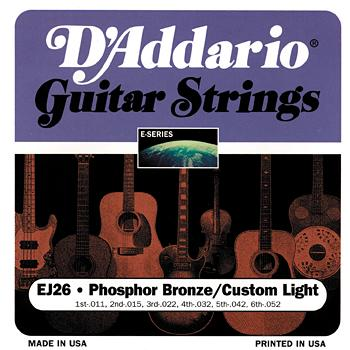 D'Addario EJ26 Phosphor Bronze Acoustic Guitar Strings Custom Light .011 - .052