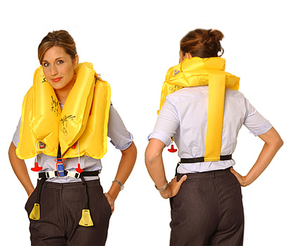 EAM Worldwide P0723-4-103W Yellow KSD-35-4 Twin-Cell Life Vest with Whistle