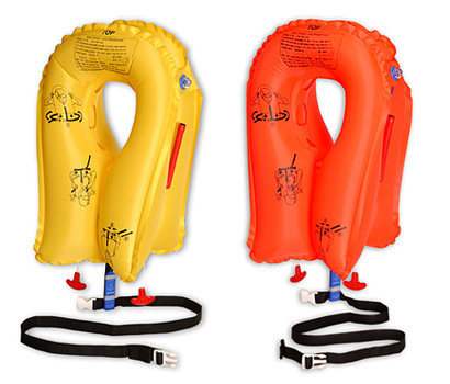 "EAM Worldwide P01074-143C Orange XF-35 Twin-Cell Life Vest with ""CREW"" white logo"