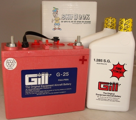 Gill G-25 Aircraft Battery with Acid