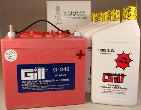 Gill G-246 Aircraft Battery with Acid