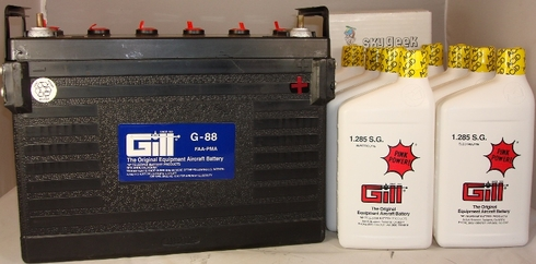 Gill G-88 Aircraft Battery with Acid