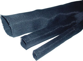 ICO-Rally HSF-20/10 Black Fabric Heat Shrink Tubing - 1 ft Length (50 ft increments)