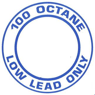 "AeroGraphics AG-FUEL-001 White/Blue ""100LL OCTANE LOW LEAD ONLY"" Round 4"" Placard"