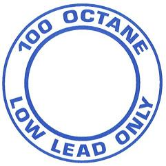 "AeroGraphics AG-FUEL-002 White/Blue ""100LL OCTANE LOW LEAD ONLY"" Round 3"" Placard"