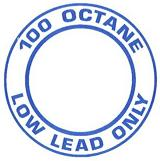 "AeroGraphics AG-FUEL-003 White/Blue ""100LL OCTANE LOW LEAD ONLY"" Round 2"" Placard"