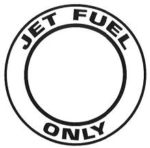 "AeroGraphics AG-FUEL-007 White/Black ""JET FUEL ONLY"" Round 3"" Placard"